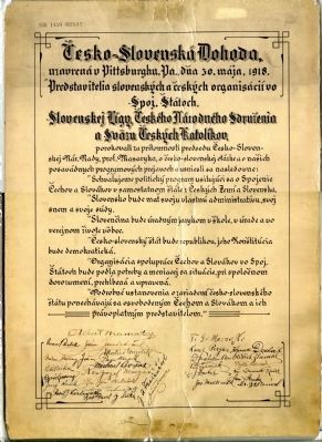 Signed lithograph with the calligraphic text of the Pittsburgh Agreement Photo, Click for full size