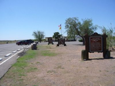 View south of three markers at this rest stop. image. Click for full size.