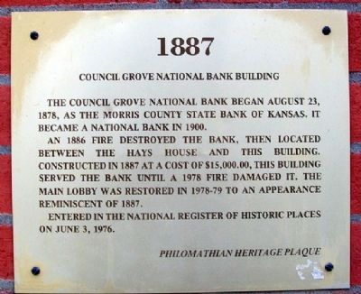 Council Grove National Bank Building Marker image. Click for full size.
