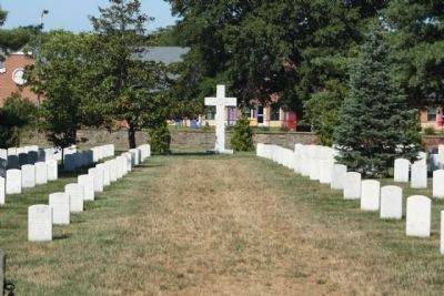 Argonne Cross amid some of 2100 reinterred in Section 18 image. Click for full size.