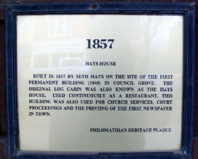 Hays House Marker image. Click for full size.