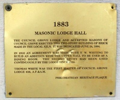 Masonic Lodge Hall Marker image. Click for full size.
