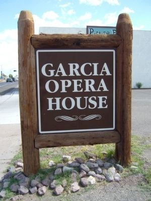 Rear of The Garcia Opera House Marker image. Click for full size.