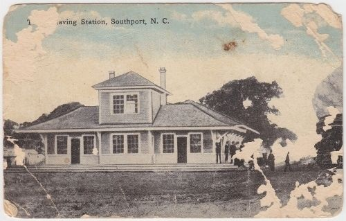 Postcard View: Train Leaving Station, Southport, N.C. (WB&S Railroad) image. Click for full size.