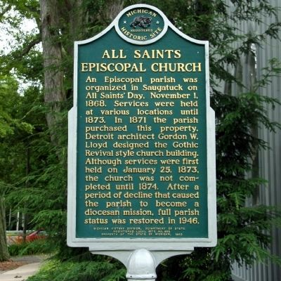 All Saints Episcopal Church Marker image. Click for full size.