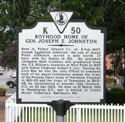 Boyhood Home of Gen. Joseph E. Johnston Marker image. Click for full size.
