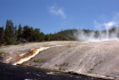 Excelsior Geyser outflow into the Firehole River (4000 gallons per min) image. Click for full size.