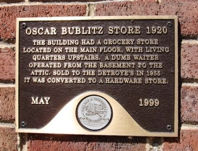 Oscar Bublitz Store 1920 Marker image. Click for full size.