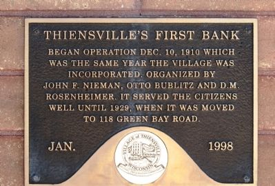 Thiensville's First Bank Marker image. Click for full size.