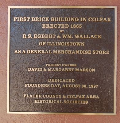 First Brick Building in Colfax Marker image. Click for full size.