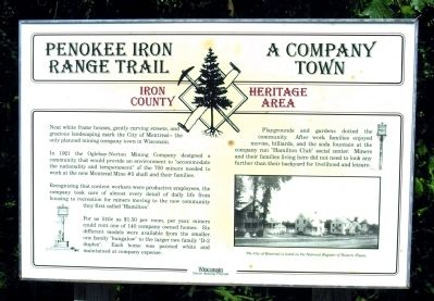 Penokee Iron Range Trail – A Company Town Marker image. Click for full size.