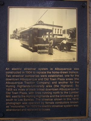 Albuquerque Electric Streetcar System Marker image. Click for full size.