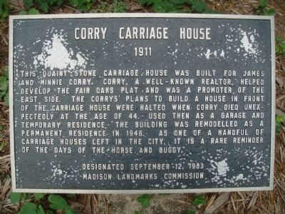 Corry Carriage House Marker image. Click for full size.