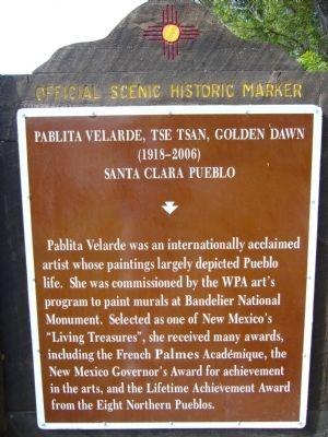 Pablita Velarde, Tse Tsan, Golden Dawn Marker image. Click for full size.