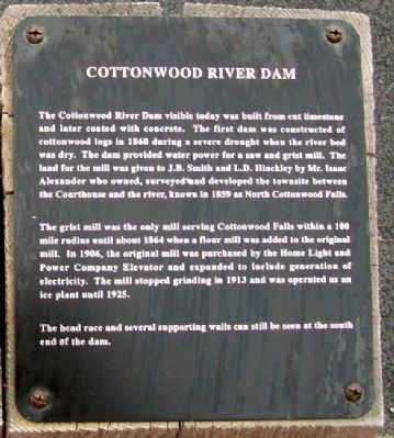 Cottonwood River Dam Marker image. Click for full size.