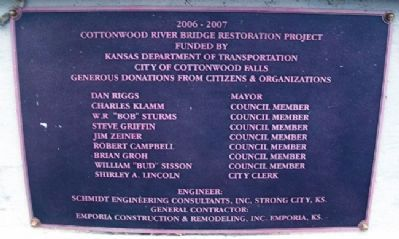 2007 Cottonwood River Bridge Plate Photo, Click for full size