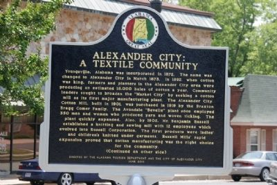 Alexander City: A Textile Community Marker (Side A) image. Click for full size.