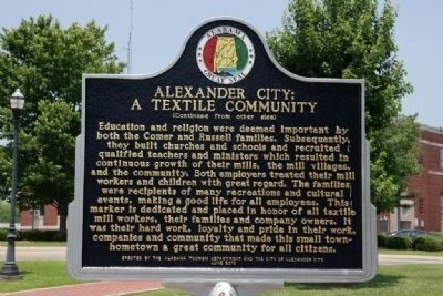 Alexander City: A Textile Community Marker (Side B) image. Click for full size.