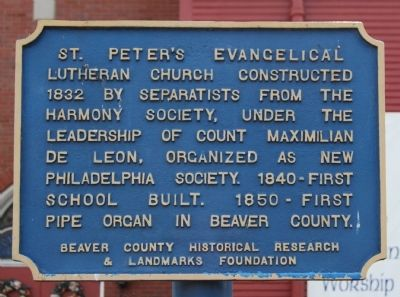 St. Peter's Evangelical Lutheran Church Marker image. Click for full size.