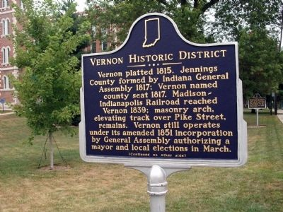 Side 'One' - - Vernon Historic District Marker image. Click for full size.