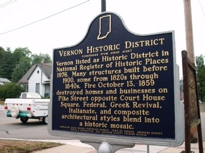 Side 'Two' - - Vernon Historic District Marker image. Click for full size.