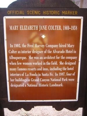 Mary Elizabeth Jane Colter Marker image. Click for full size.