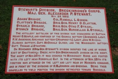 Stewart's Division. Breckinridge's Corps. Marker image. Click for full size.