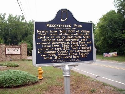 Side 'Two' - - Muscatatuck Park Marker image. Click for full size.