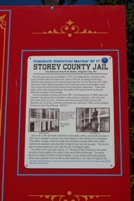 The Storey County Jail Marker image. Click for full size.
