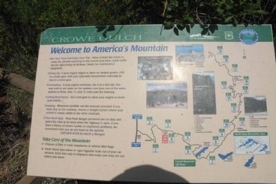 Welcome to America�s Mountain Marker image. Click for full size.