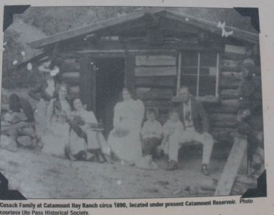 Cusack Family at Catamount Hay Ranch circa 1890, located under present Catamount Reservoir image. Click for full size.