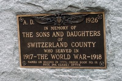 Switzerland County World War I Memorial Marker image. Click for full size.