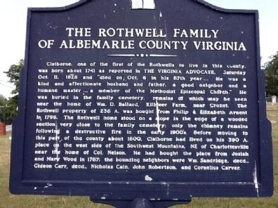 The Rothwell Family of Albemarle County Virginia Marker Photo, Click for full size