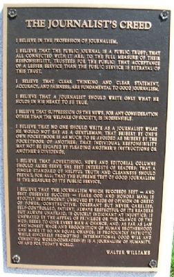 Journalist's Creed Marker image. Click for full size.
