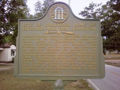 Site of Childhood Home of Richard Malcolm Johnston Marker Photo, Click for full size