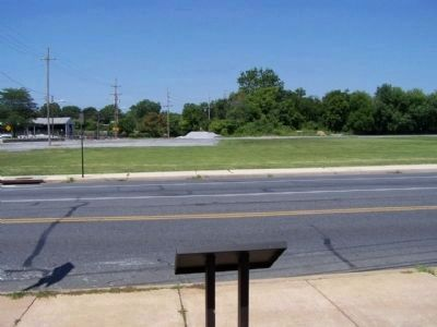Willow Lane Park Marker with todays view of were the ball field once stood image. Click for full size.