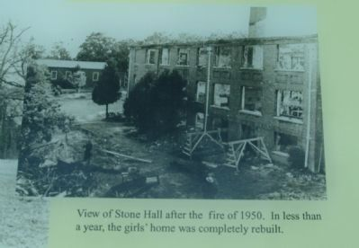 View of Stone Hall after the fire of 1950. image. Click for full size.