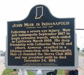 John Muir in Indianapolis Marker image. Click for full size.