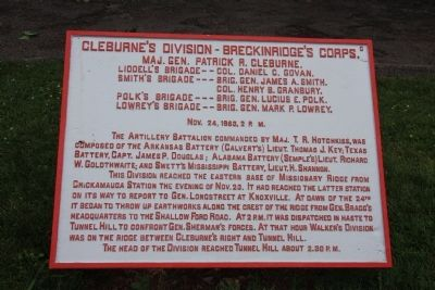 Cleburne's Division - Breckinridge's Corps. Marker image. Click for full size.