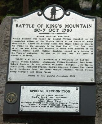 Battle of Kings Mountain Marker image. Click for full size.