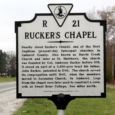Rucker's Chapel Marker image. Click for full size.