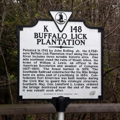 Buffalo Lick Plantation Marker Photo, Click for full size
