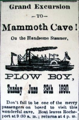 <i>Plow Boy</i> Ad on Steamboating Marker image. Click for full size.