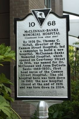 McClennan Banks Memorial Hospital Marker Photo, Click for full size