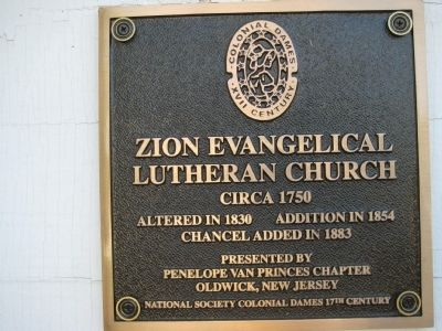 Zion Evangelical Lutheran Church Marker image. Click for full size.