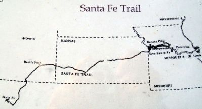 Santa Fe Trail Map on City of Trails Marker image. Click for full size.