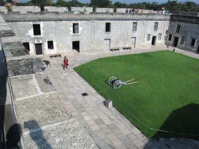 Courtyard, Marker, and Replica Cannon image. Click for full size.