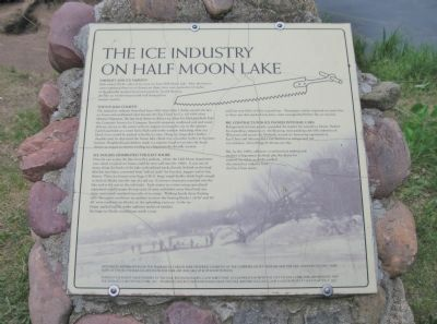 The Ice Industry on Half Moon Lake Marker image. Click for full size.