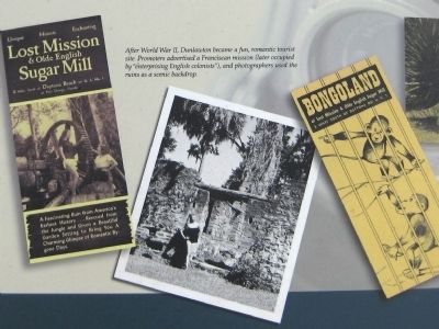 "Marker close-up: Photo, Brochures from ""Lost Mission & Olde English Sugar Mill"" and ""Bongoland"" image. Click for full size."