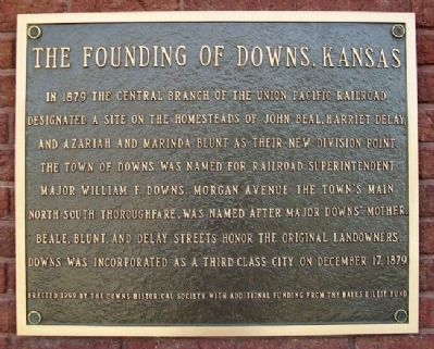 The Founding of Downs, Kansas Marker image. Click for full size.